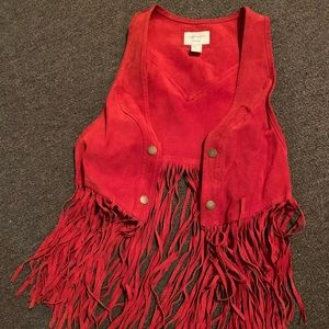 Leather F21 Fringe Vest